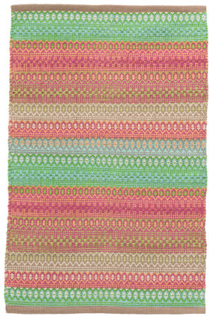 Dash And Albert Gypsy Cotton Pink - Green Area Rug