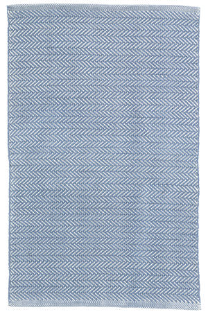 Dash And Albert Herringbone Indoor-Outdoor Denim - Ivory Area Rug