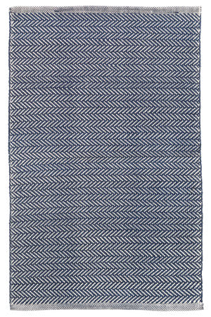 Dash And Albert Herringbone Indoor-Outdoor Navy - Ivory Area Rug