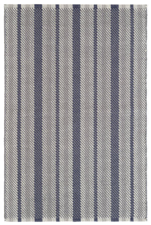 Dash And Albert Herringbone Stripe Navy Area Rug