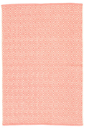 Dash And Albert Lattice Cotton Coral Area Rug