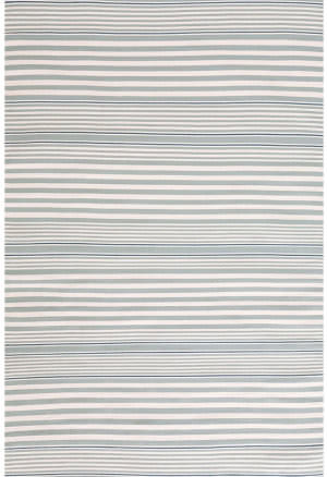 Dash And Albert Rugby Stripe Indoor-Outdoor Light Blue Area Rug