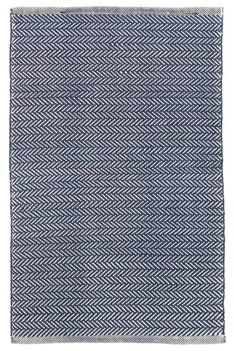 Dash And Albert Herringbone Indoor-Outdoor Navy - Ivory Area Rug #158937