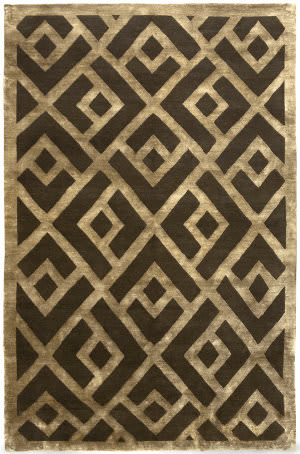 Due Process Adaptations Laced Brown - Gold Area Rug