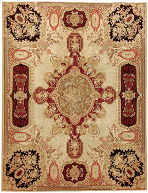 Due Process Aubusson Louis Xv Gold - Black Area Rug