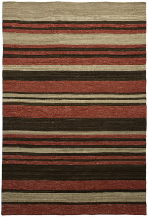 Due Process Flatweave Flatline Red - Chocolate Area Rug