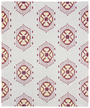 Due Process Flatweave Ikat Wheel Ruby Area Rug