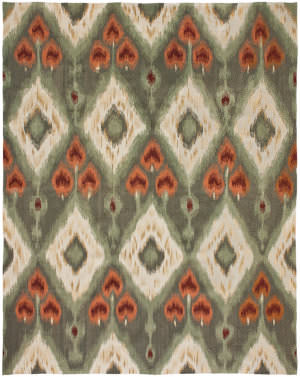 Due Process Flatweave Ikat Vi Green Area Rug
