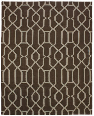 Due Process Flatweave Lattice Work Espresso Area Rug