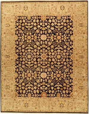 Due Process Jagapatti Meshed Black-Sage Area Rug