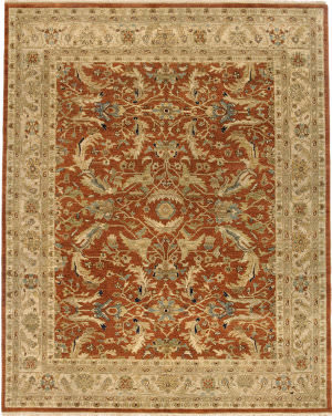 Due Process Jagapatti Mehraban Brick - Cream Area Rug
