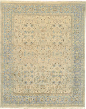 Due Process Kandahar Tabriz Sand - Light Blue Area Rug