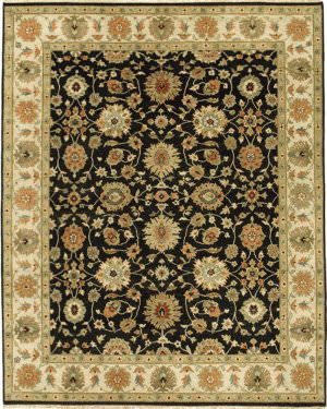 Due Process Mirzapur Agra Black - Ivory Area Rug