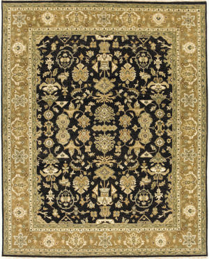 Due Process Mirzapur Mahal Black - Dark Gold Area Rug