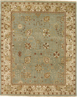 Due Process Mirzapur Tabriz Turquoise - Ivory Area Rug