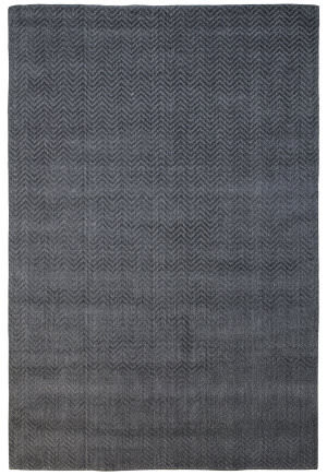 Due Process Modal Herringbone Charcoal Area Rug