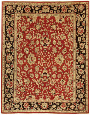 Due Process Peshawar Agra Red - Black Area Rug