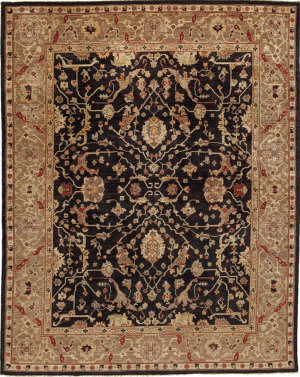 Due Process Peshawar Farahan Black - Gold Area Rug