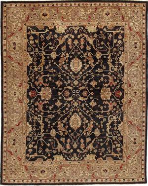 Due Process Peshawar Farahan Black-Gold Area Rug