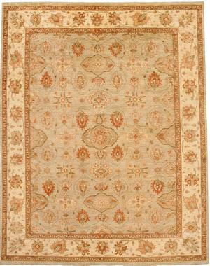 Due Process Peshawar Hereke Aqua-Cream Area Rug