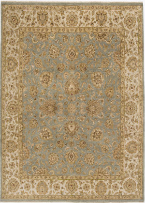 Due Process Rambagh Kashan Light Blue - Ivory Area Rug