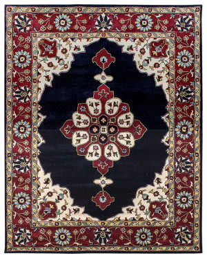 Due Process Tufted Kashan Open Field Navy - Red Area Rug