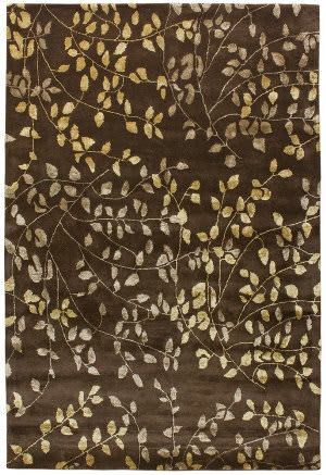 Due Process Tufted Leaves Brown Area Rug