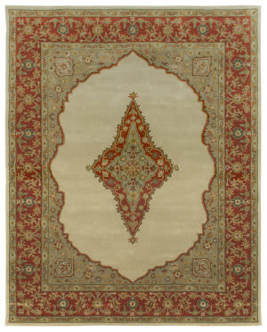 Due Process Tufted Mohtesham Open Field Ivory - Rust Area Rug