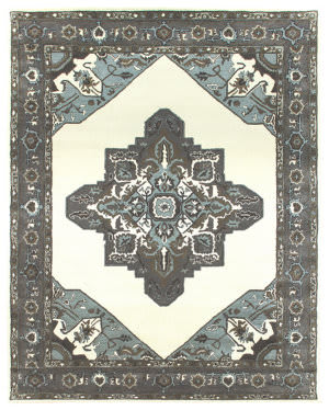 Due Process Tufted Serapi Open Field Ivory - Frost Grey Area Rug