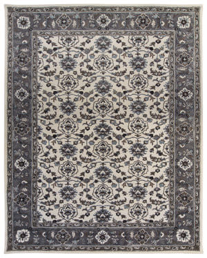 Due Process Tufted Shield Ivory - Frost Grey Area Rug