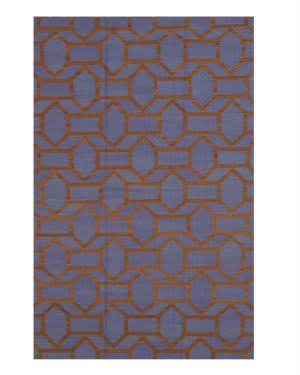 Eastern Rugs Flatweave Reversible Pierce Dm80bl Blue Area Rug