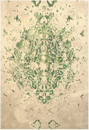 Eastern Rugs Moderno Medallion Fl15gn Green Area Rug