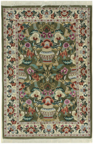 Eastern Rugs Vase Yz577 Green Area Rug