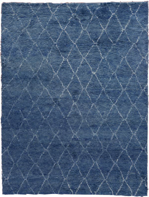 Exquisite Rugs Moroccan Hand Knotted Blue Area Rug