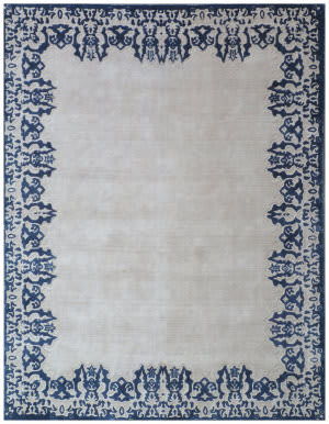 Exquisite Rugs Roset Hand Woven Ivory-Blue Area Rug