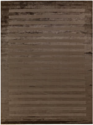 Exquisite Rugs Panel Stripe Hand Woven Dark Beige Area Rug