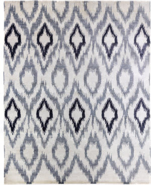 Exquisite Rugs Ikat Hand Knotted 5000 Blue - Gray Area Rug