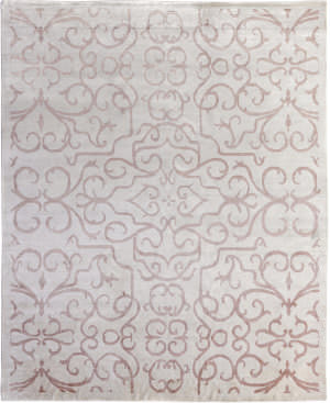 Exquisite Rugs Bamboo Silk Hand Knotted Light Pink Area Rug