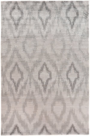 Exquisite Rugs Ikat Hand Knotted 5162 Light Silver Area Rug