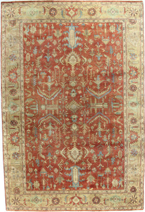Exquisite Rugs Serapi Hand Knotted 9192 Red - Gold Area Rug