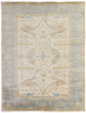 Exquisite Rugs Oushak Hand Knotted 9329 Ivory - Blue Area Rug