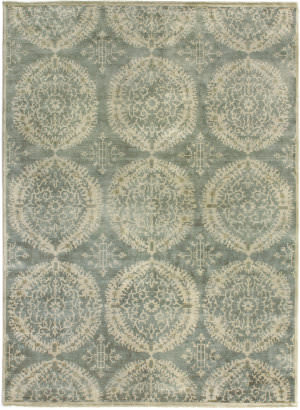 Exquisite Rugs Low Pile Hand Knotted Silver - Gray Area Rug
