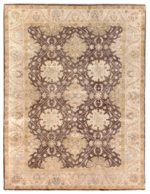 Exquisite Rugs Low Pile Hand Knotted Brown - Beige Area Rug