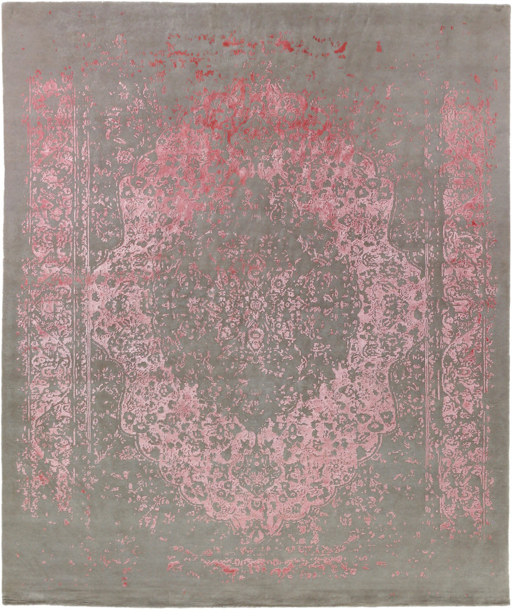 Exquisite Rugs Milan Hand Knotted Pink Area Rug #190782