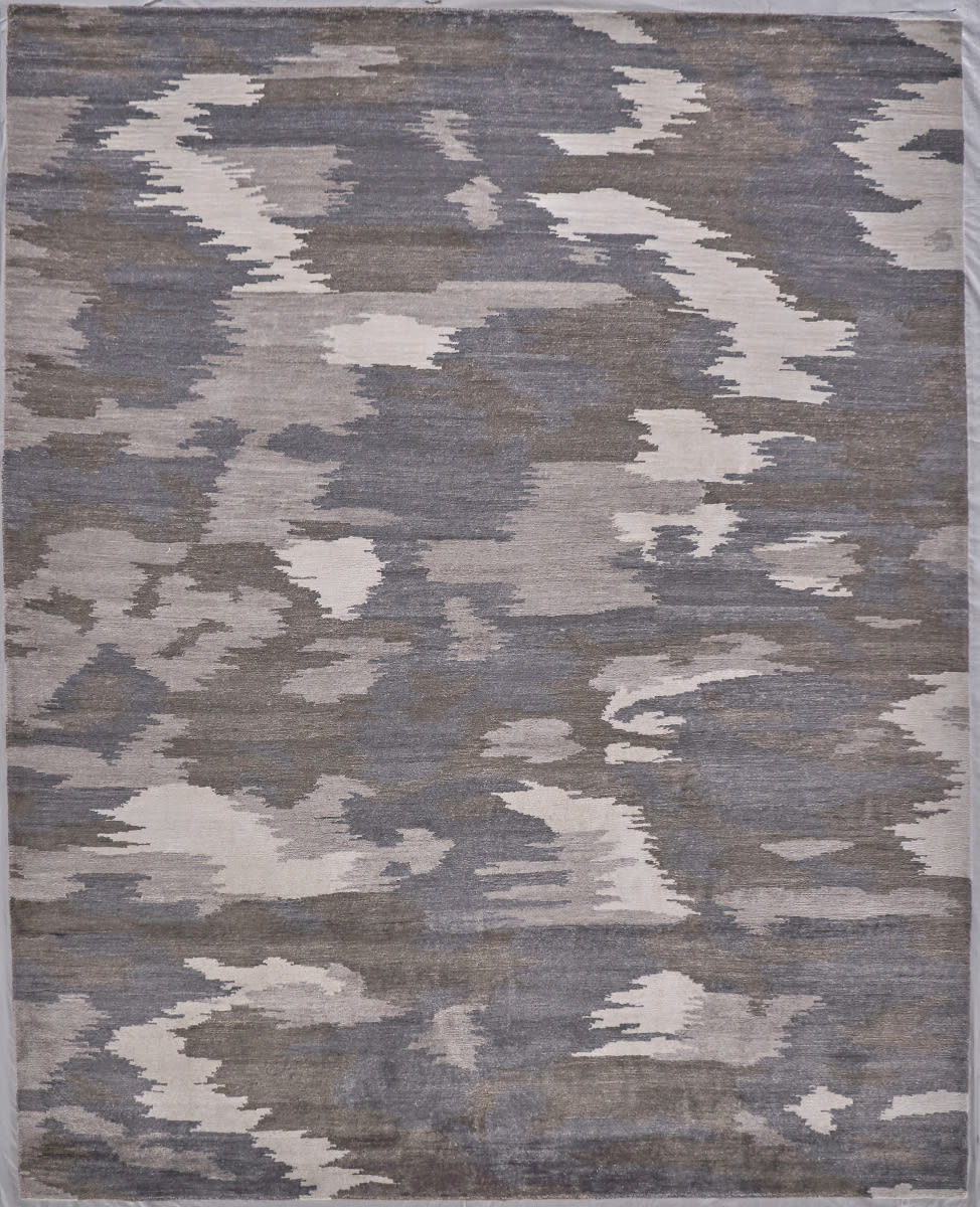 Exquisite Rugs Bamboo Silk Hand Knotted Ivory Silver Rug Studio