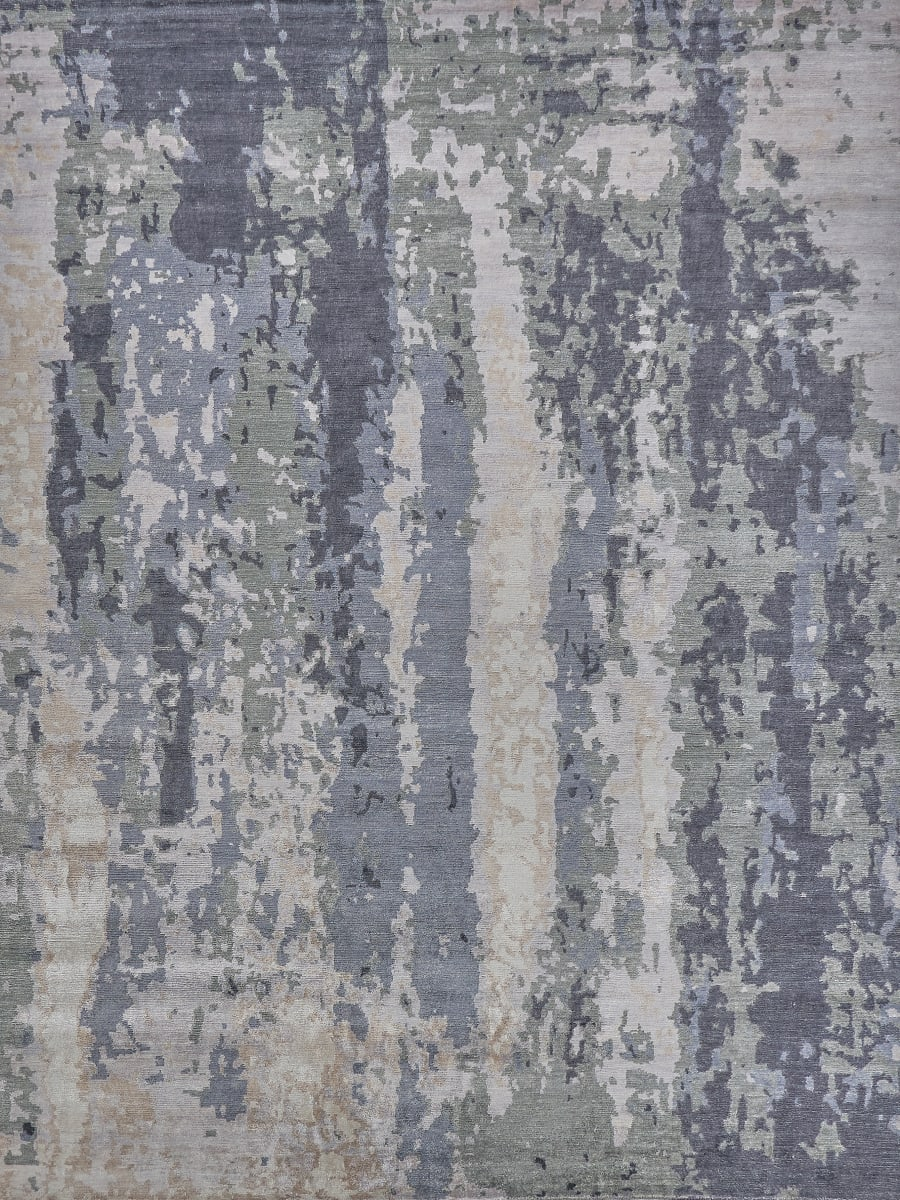 Exquisite Rugs Abstract Expressions Hand Knotted 3337 Blue Gray Rug Studio