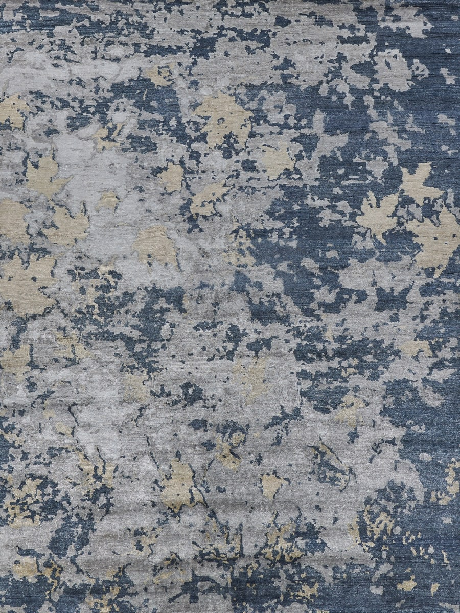 Exquisite Rugs Abstract Expressions Hand Knotted Dark Gray Black