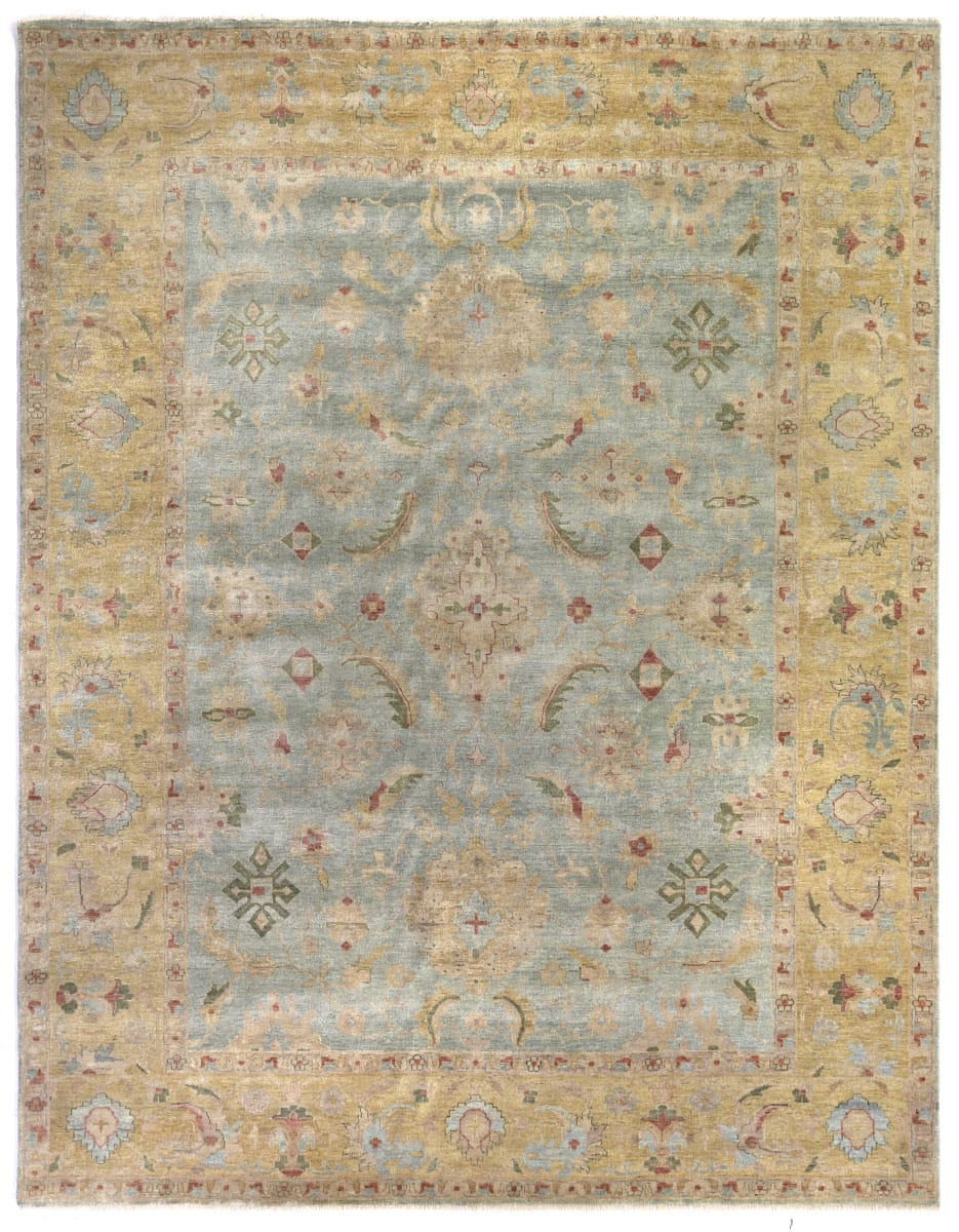 Exquisite Rugs Oushak Hand Knotted 3344 Light Blue Gold Rug Studio