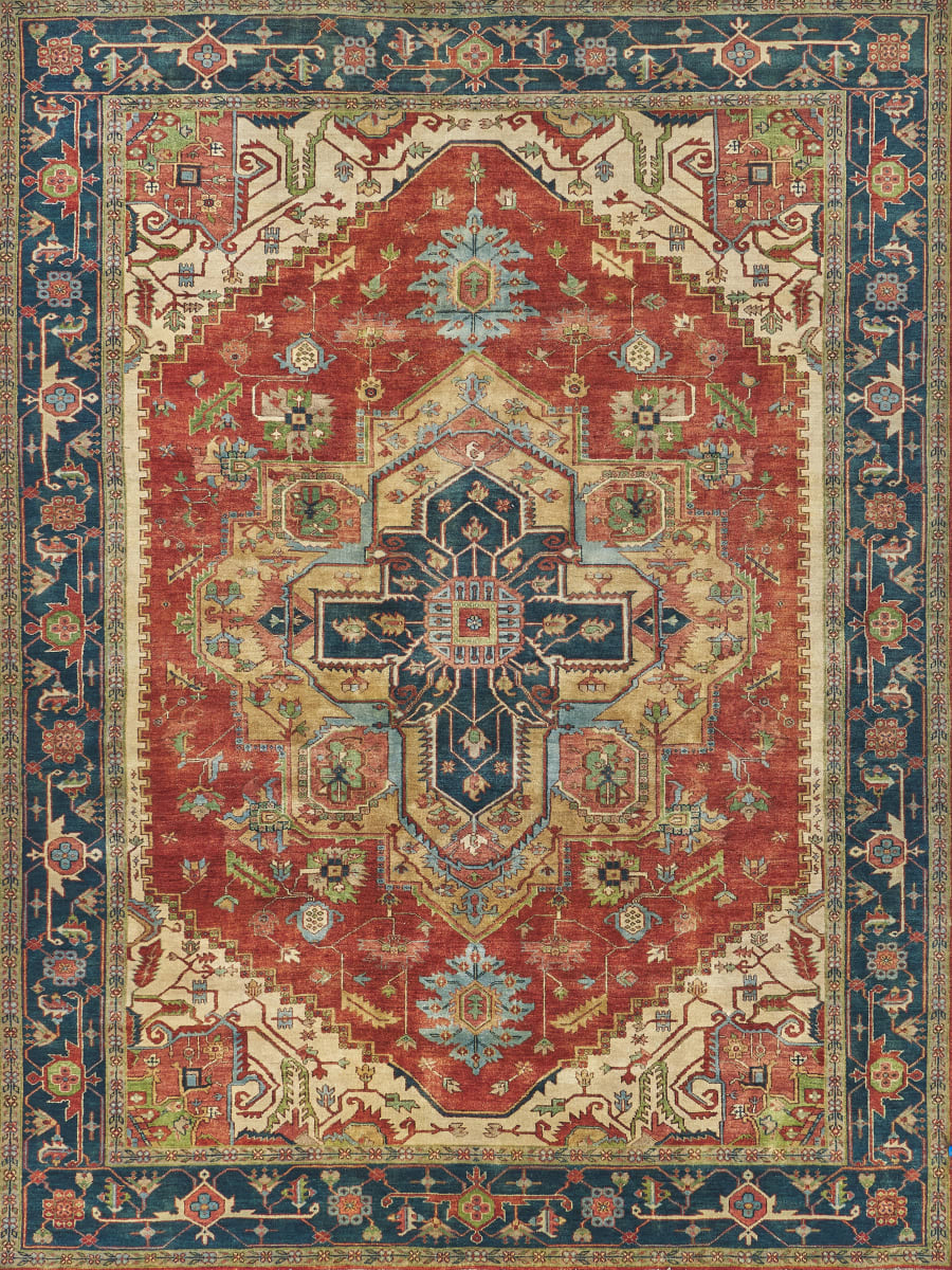 Exquisite Rugs Serapi Hand Knotted Red Blue 191077 Rug Studio
