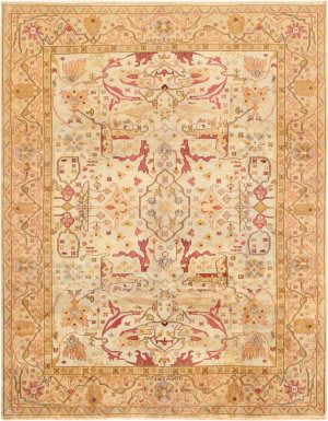 Famous Maker Oushak Ou-100 Light Green - Gold Area Rug